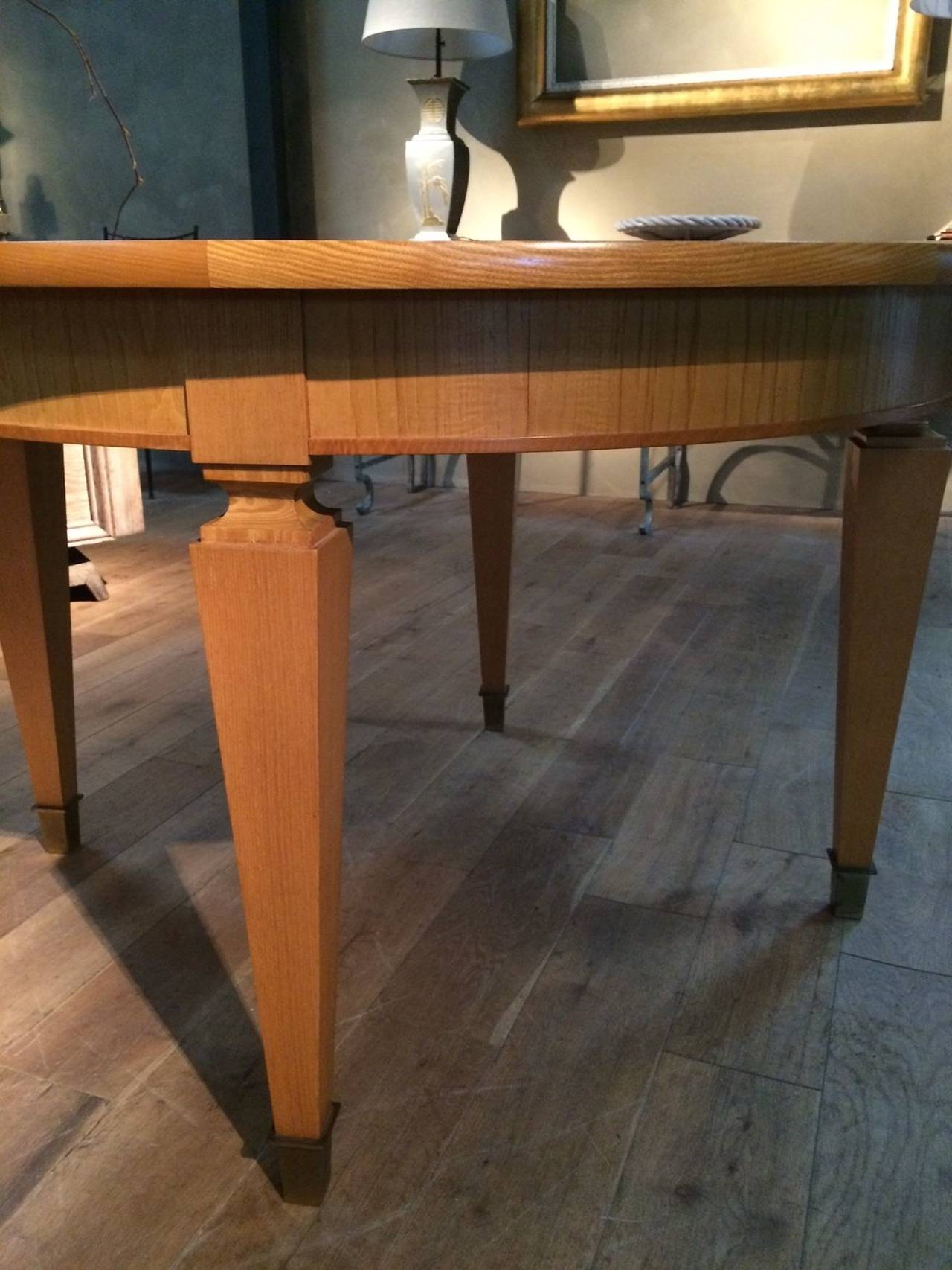 Mid Century Dining Table with Two Leaves and Brass Sabots, France, 1940s In Excellent Condition For Sale In New York, NY