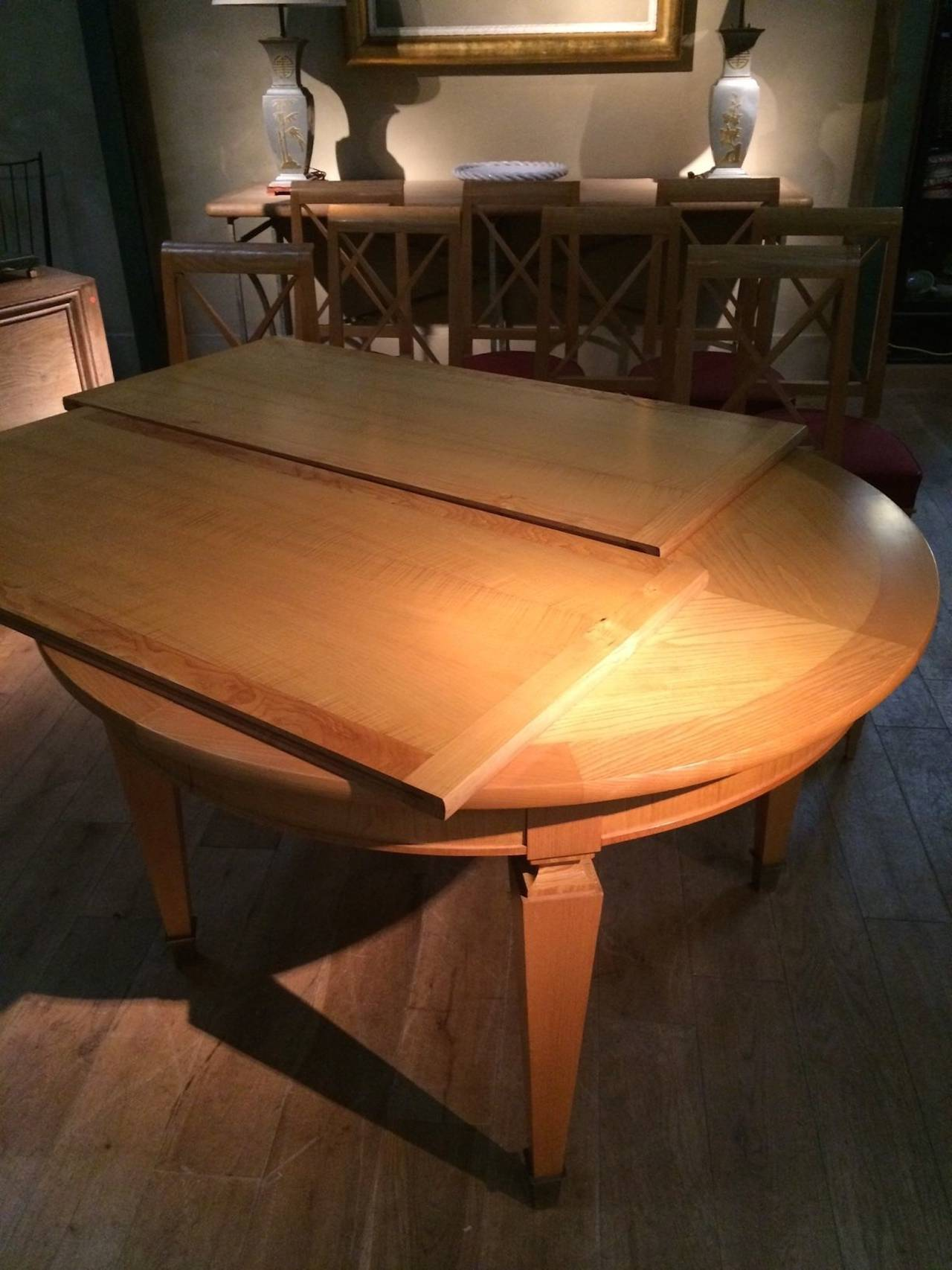 Mid-20th Century Mid Century Dining Table with Two Leaves and Brass Sabots, France, 1940s For Sale