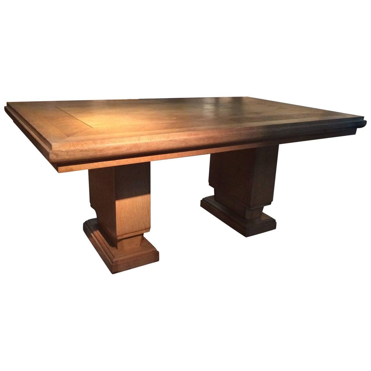 Mid-Century Large Blond Oak Parquet Pattern Desk, France, 1940s