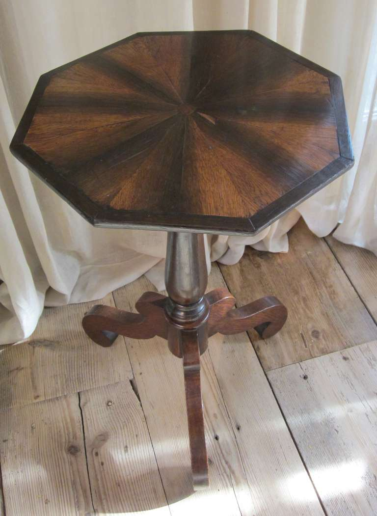 Antique Fold Down Brown And Black Octagonal Side Table