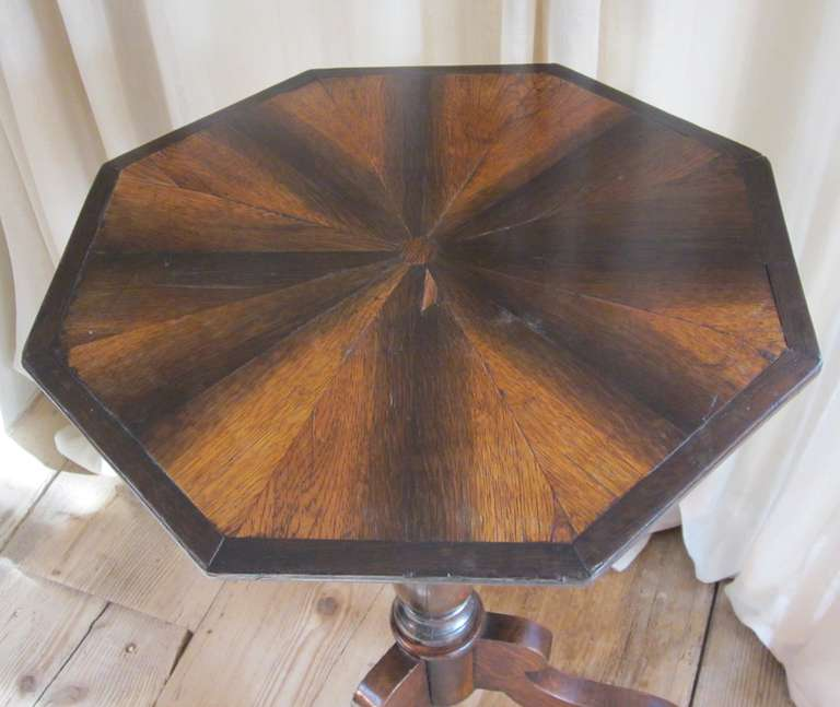 Antique Coffee Table With Folding Sides: Antique Fold Down Brown And Black Octagonal Side Table