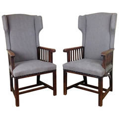 Arts and Crafts Pair of Upholstered Wing Chairs, England, circa 1900s