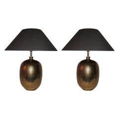 Pair of Gold Faux Shagreen Porcelain Egg-Shaped Lamps, Contemporary