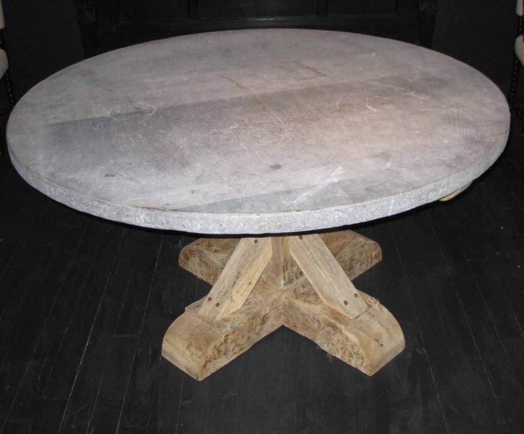 Belgian Round Bluestone Top Dining Table, 19th Century