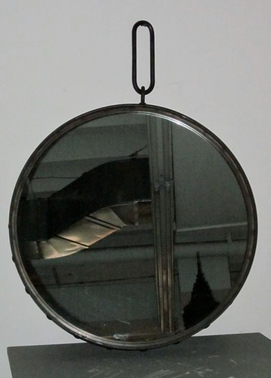 Industrial Round Steel Wall Mirror With Large Rivets