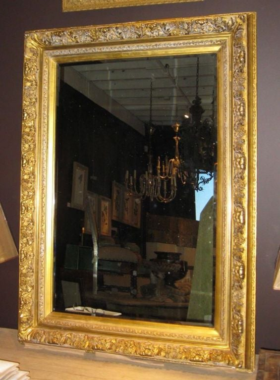 19thc large gold guild framed mirror at 1stdibs for Large white framed mirror