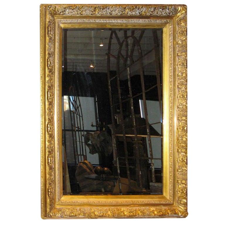 19thc large gold guild framed mirror at 1stdibs for Large framed mirrors for sale