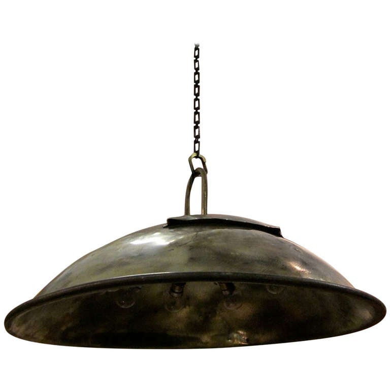 Brass Industrial Dome Shaped Light Fixture, England, 1920s