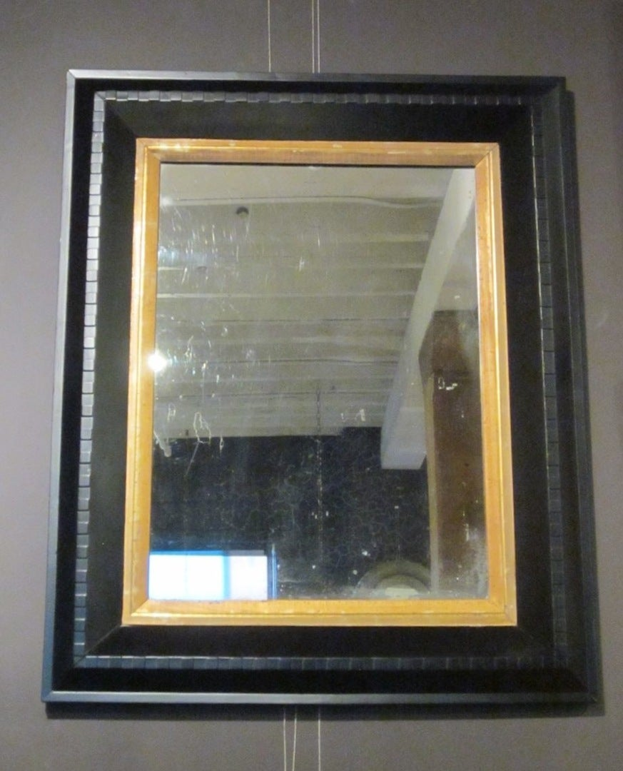 19th Century Black with Gold Trim Wall Mirror Dental Molding, France 2