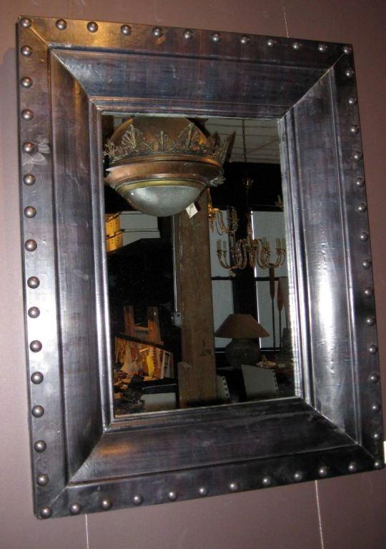 Belgian Large Rivet Mirror At 1stdibs