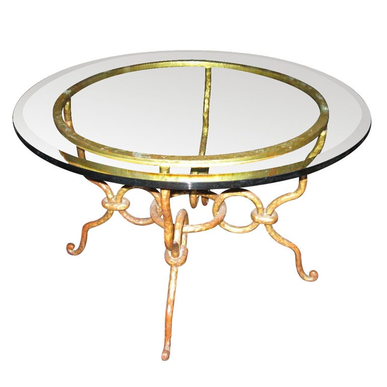 1940 39 s wrought iron coffee table at 1stdibs for Square wrought iron coffee table