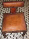Moroccan Pair Leather Side Chairs