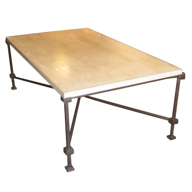 Italian Travertine Iron Coffee Table At 1stdibs
