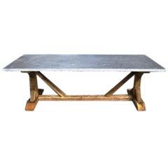 Bluestone Top Trestle Base Farm Table, Belgium, 19th Century Base, Modern Top