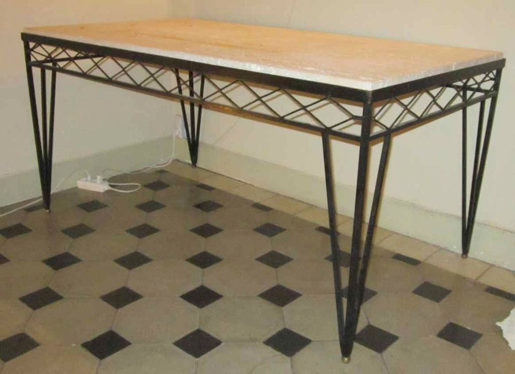 French Travertine Top Iron Base DIning Table at 1stdibs