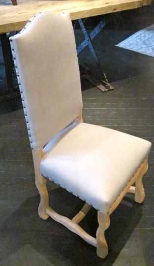 1920s French bleached Os d'Mouton dining chairs. Set of six. Newly reupholstered in linen. Classic French dining chairs.
