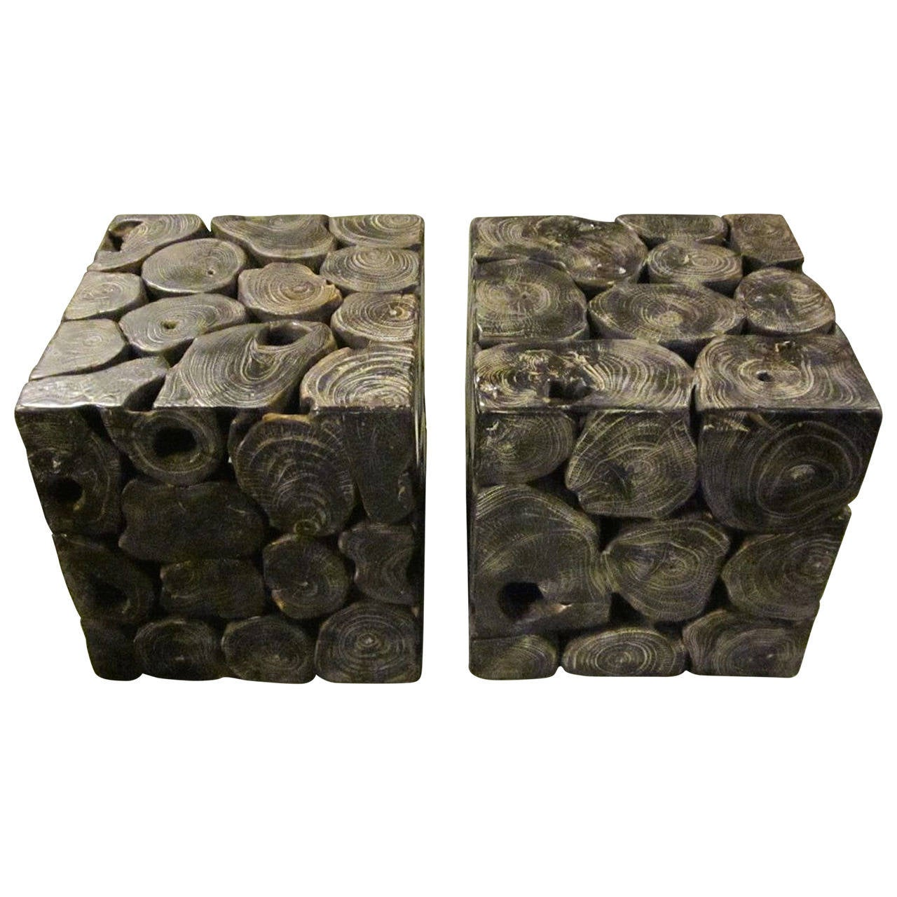 Brown Wood Slice Side Tables Indonesia Contemporary