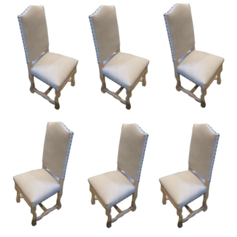 Os d'Mouton Set of Six Bleached Dining Chairs, France, 1920s For Sale