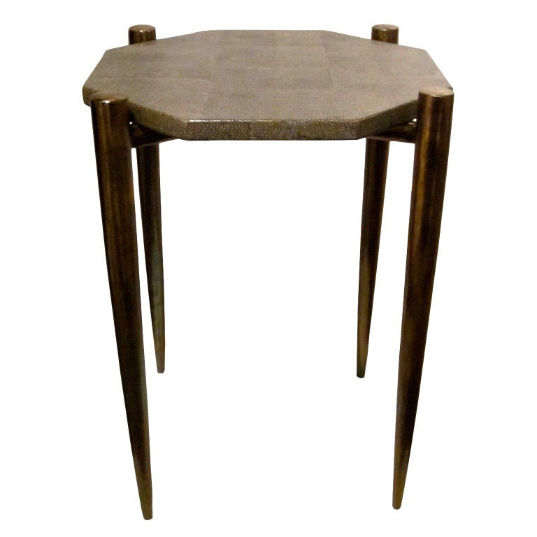 Small Brass And Glass Coffee Tables: Faux Shagreen And Brass Small Side Or Cocktail Table