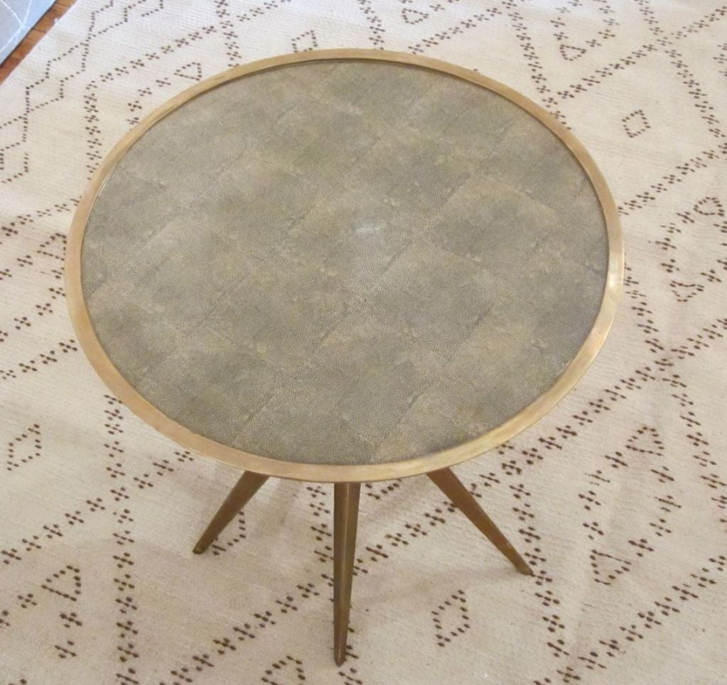 Chinese Faux Shagreen and Brass Round Cocktail or Side Table, Contemporary For Sale