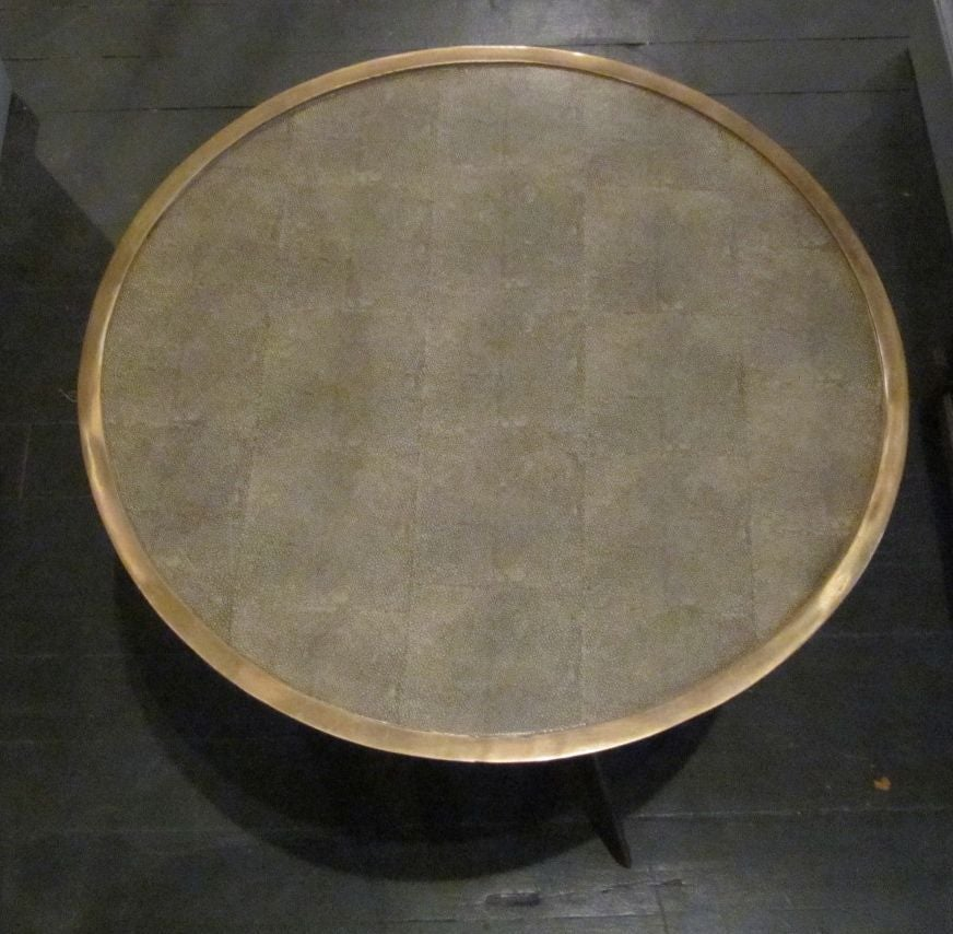 Faux Shagreen And Brass Round Cocktail Or Side Table Contemporary For Sale At 1stdibs