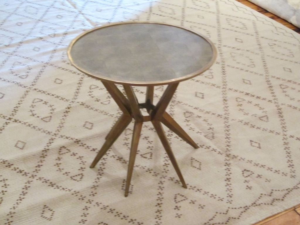 Faux Shagreen and Brass Round Cocktail or Side Table, Contemporary For Sale 1