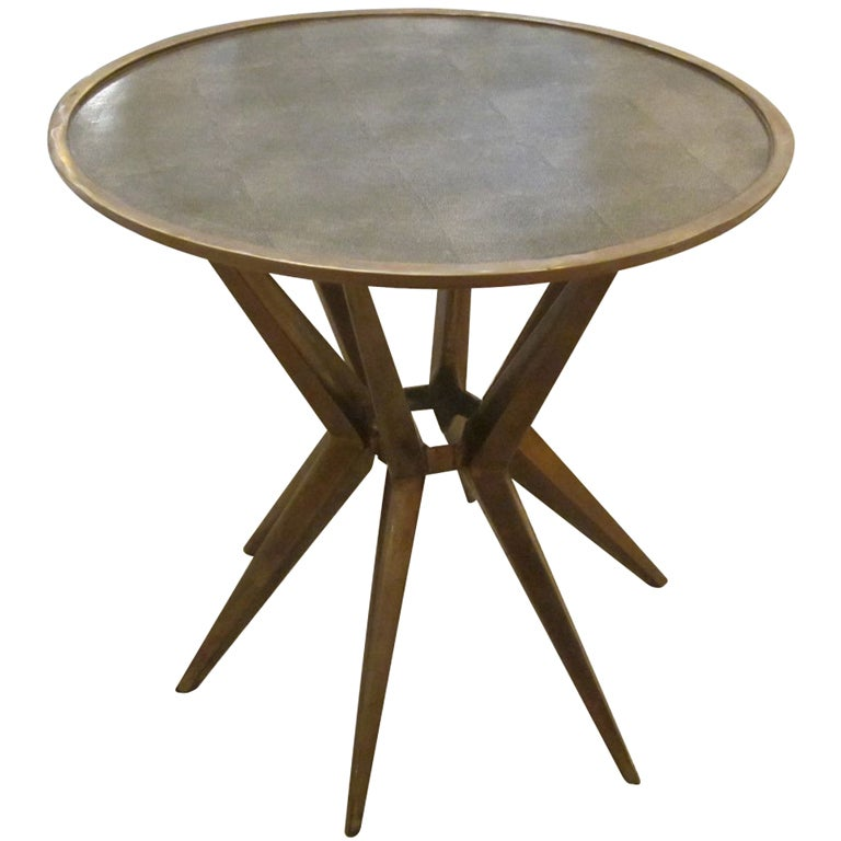 Faux Shagreen And Brass Round Cocktail Or Side Table, Contemporary 1