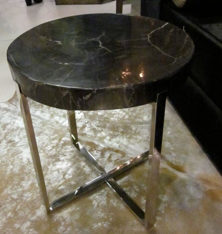Chrome And Wood End Table ~ Petrified wood and chrome side table at stdibs