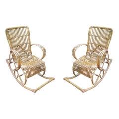 Pair Italian Bamboo Rocking Chairs