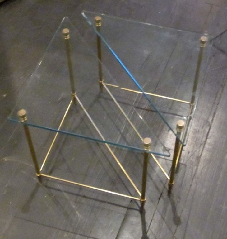 Triangle Shaped Glass And Brass Cocktail Side Table At 1stdibs