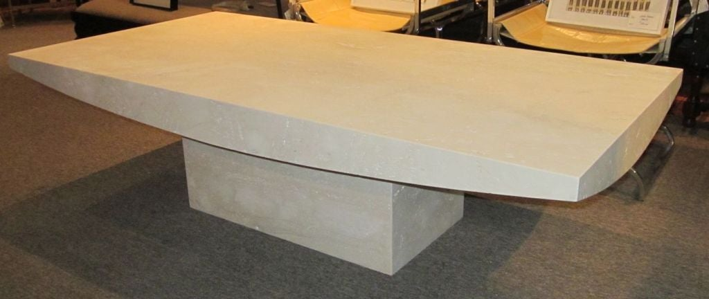American Italian Travertine Rectangular Coffee Table, Contemporary For Sale