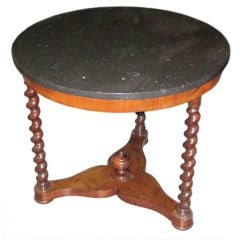19thc French Round Marble Top Side Table
