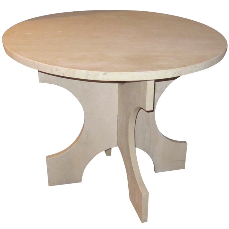 Italian Travertine Round Side Table, Contemporary