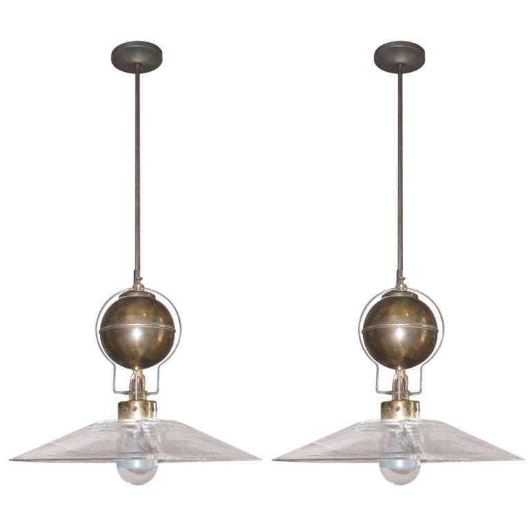 Italian Pair of Square Glass Shade Industrial Light Fixtures, Contemporary 1