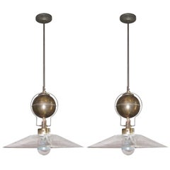 Italian Pair of Square Glass Shade Industrial Light Fixtures, Contemporary