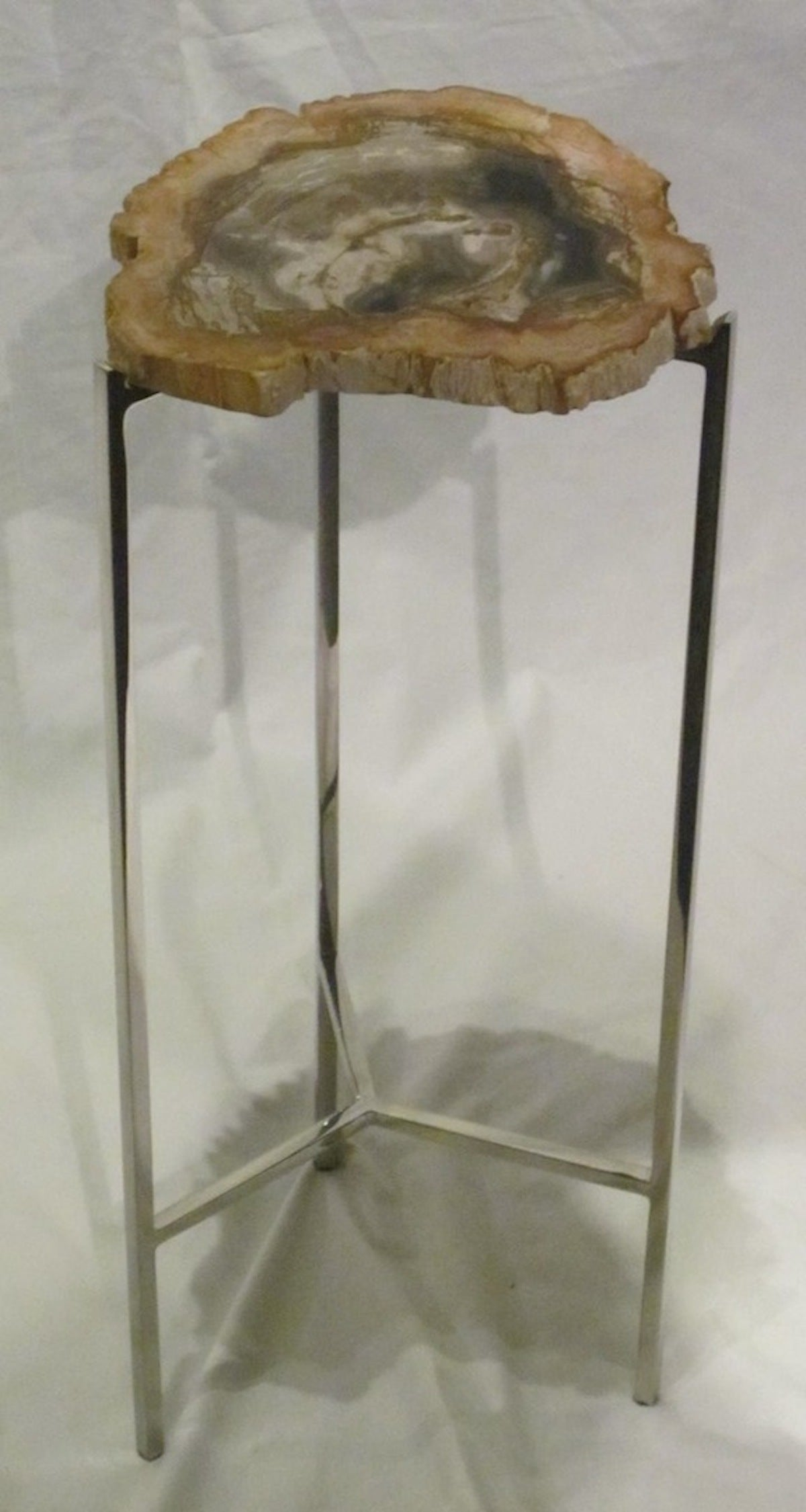 Petrified Wood Slice Small Side Table Prehistoric at 1stdibs