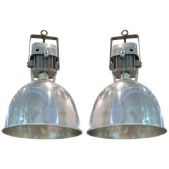 1940s Pair of Industrial Light Fixtures, France