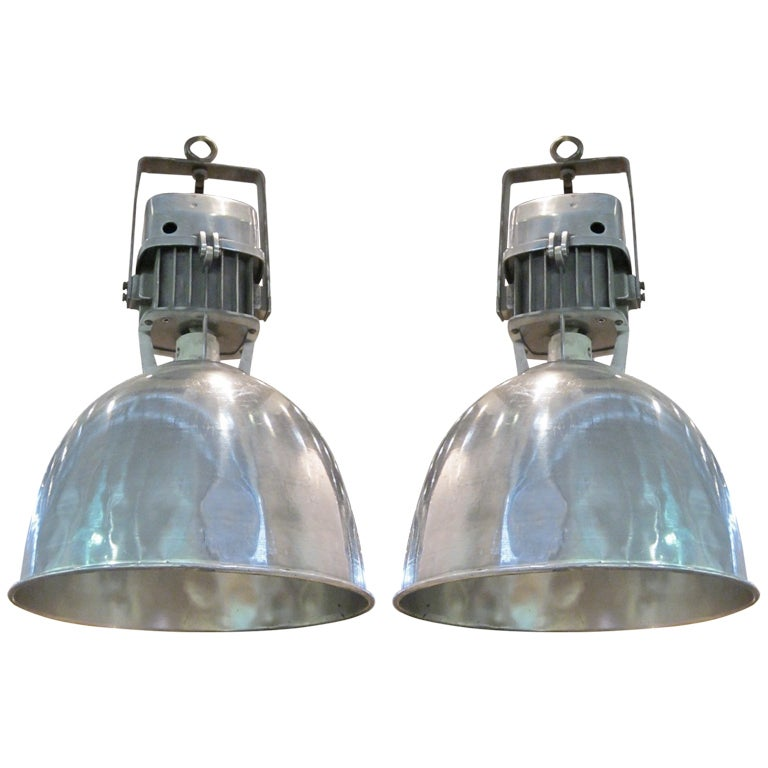 Pair of french industrial light fixtures at 1stdibs for Industrial design lighting fixtures