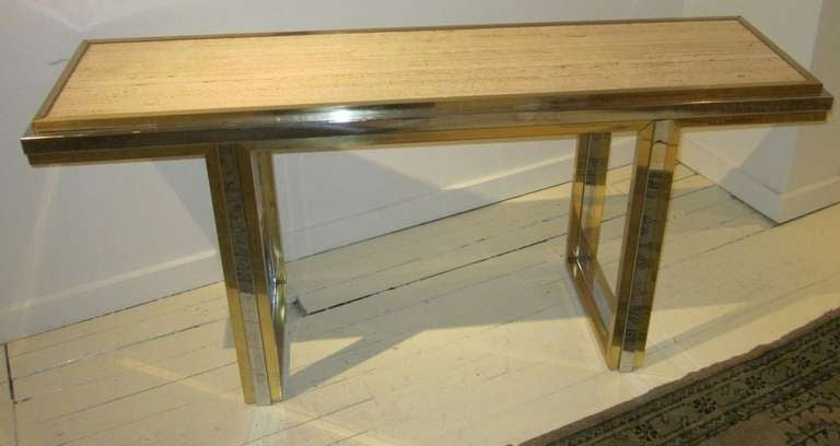 1960s French travertine top with brass chrome base console table.