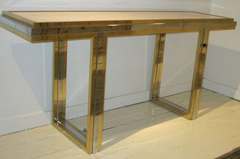 French Mid-Century Travertine and Brass Console Table, France, circa 1960 For Sale