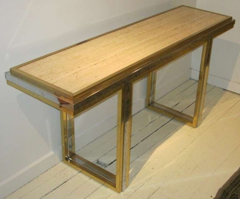 Mid-Century Travertine and Brass Console Table, France, circa 1960 In Excellent Condition For Sale In New York, NY