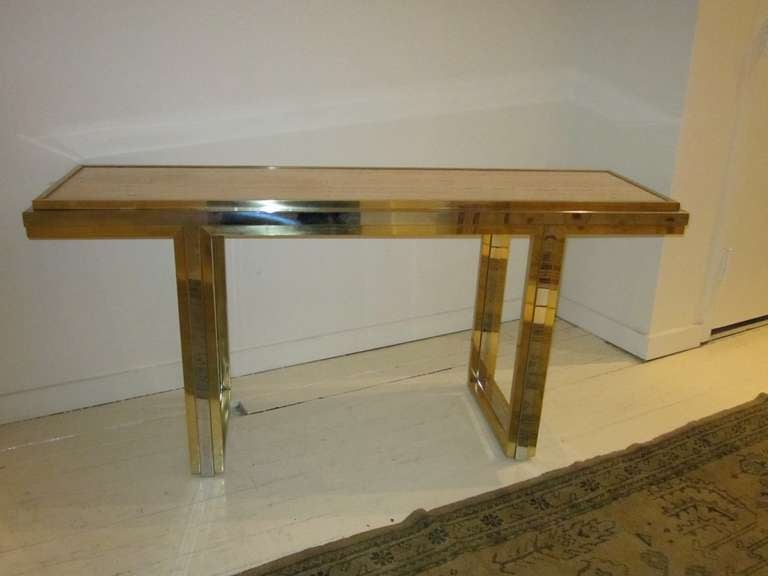 Mid-Century Travertine and Brass Console Table, France, circa 1960 For Sale 1