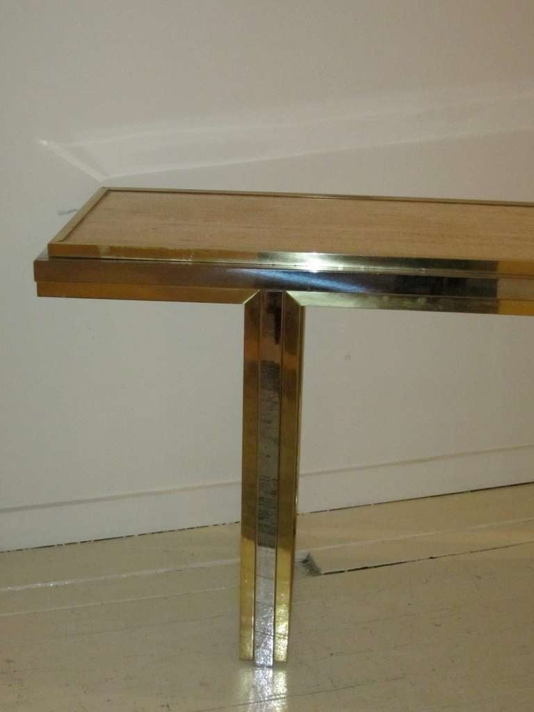 Mid-Century Travertine and Brass Console Table, France, circa 1960 For Sale 2