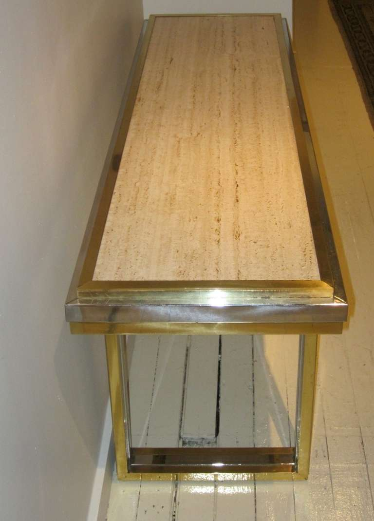 Mid-Century Travertine and Brass Console Table, France, circa 1960 For Sale 3