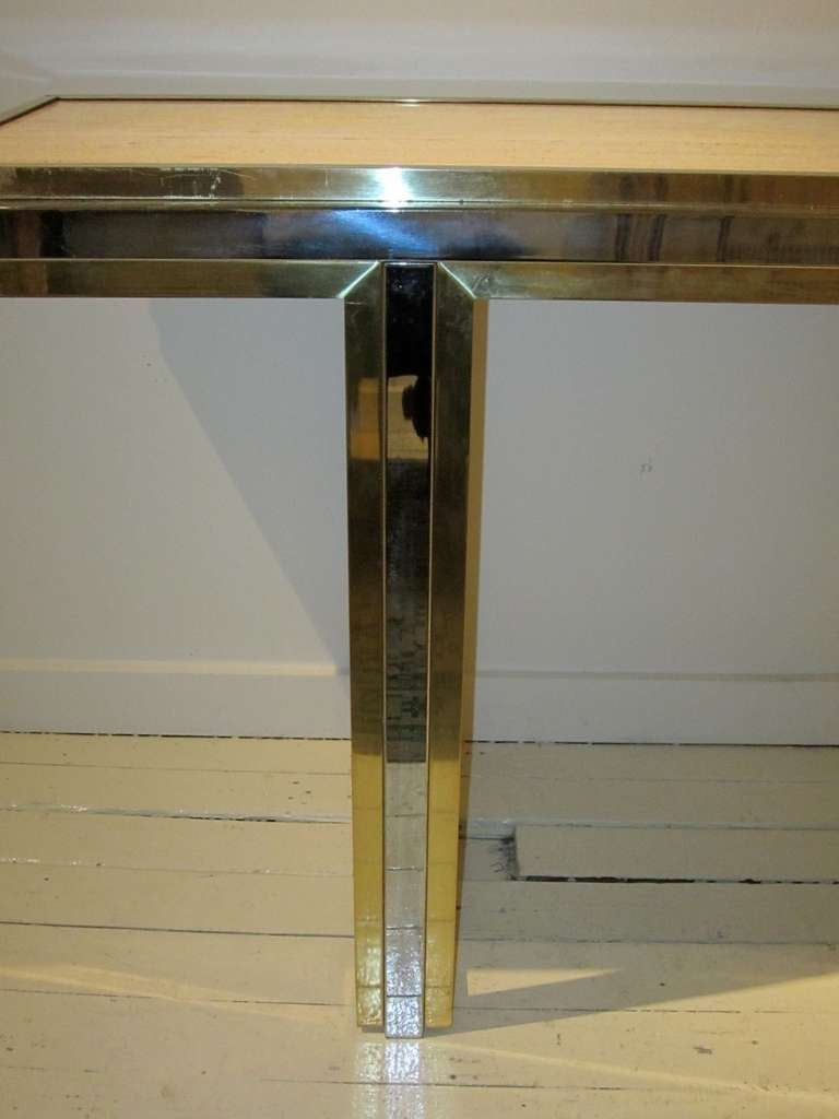 Mid-Century Travertine and Brass Console Table, France, circa 1960 For Sale 4