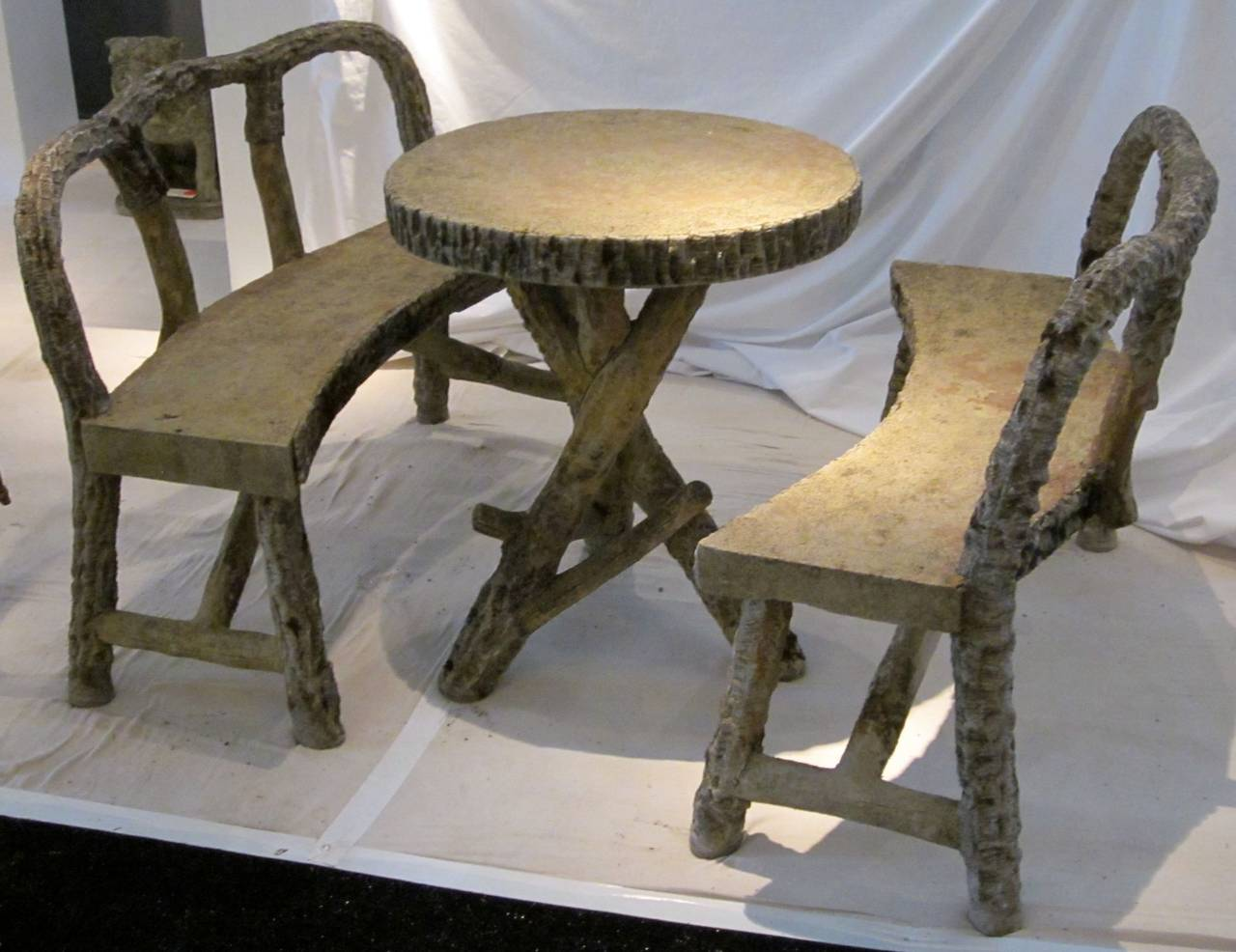 Belgian Faux Bois Table And Benches Circa 1940s At 1stdibs