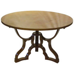 Mid-Century Round Dining or Centre Hall Maple Table, Italy, 1940s