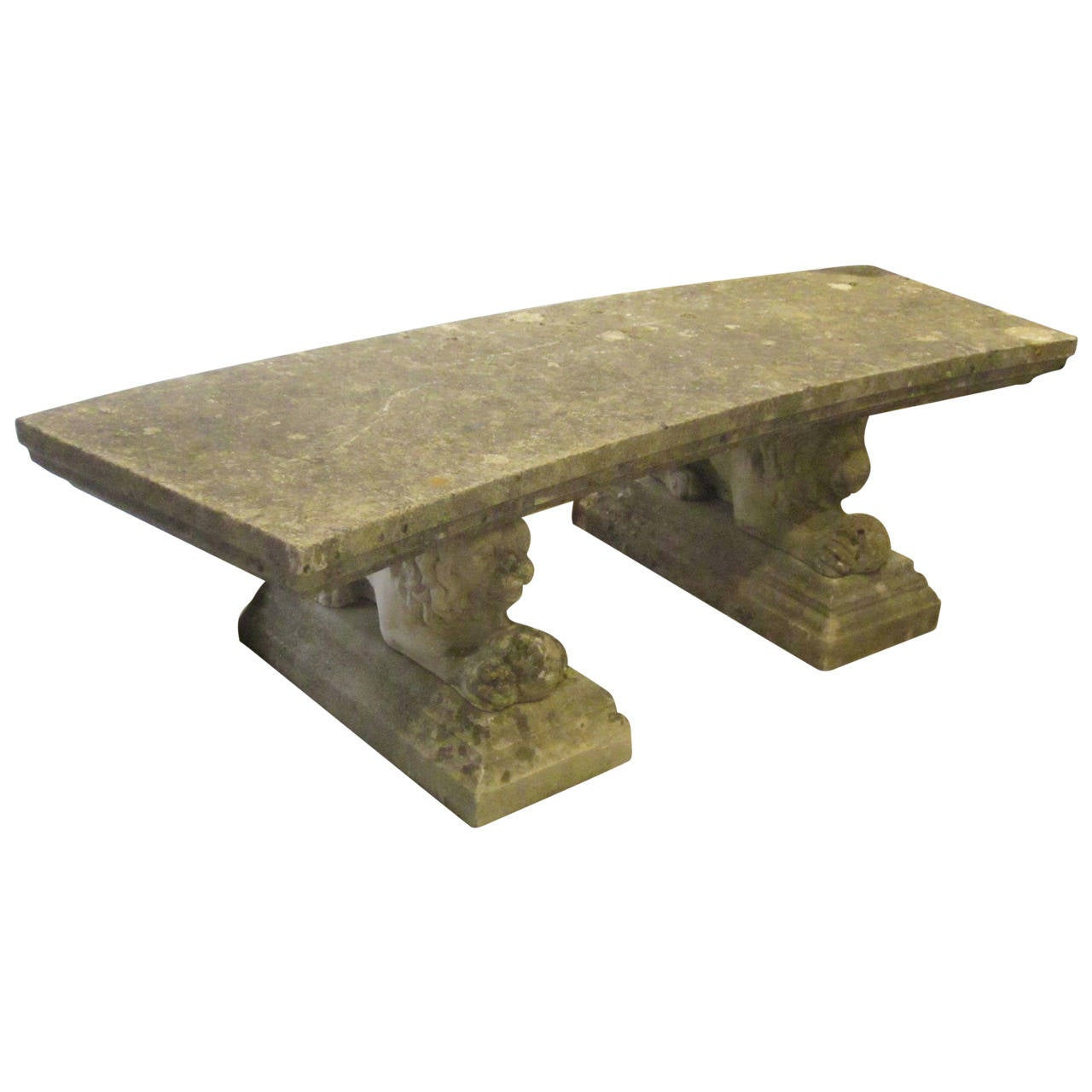 English Stone Curved Garden Bench With Cast Lion Legs Circa 1940s At 1stdibs