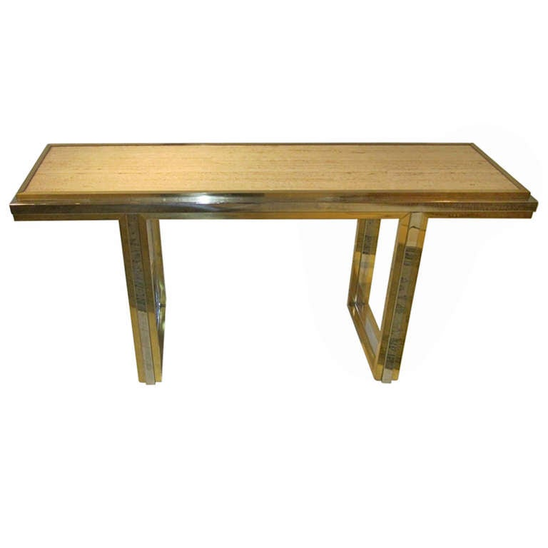 Mid-Century Travertine and Brass Console Table, France, circa 1960 For Sale
