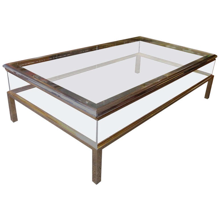 1960 39 s belgian bellachrome vitrine coffee table at 1stdibs for Table vitrine